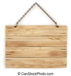 sign - blank wooden sign hanging on a chain. isolated on ...