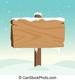 A blank wooden signpost in a snowy landscape. Vector Illustration
