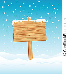 Blank Wooden Sign in Winter - Blank Wooden Sign in Snow ...
