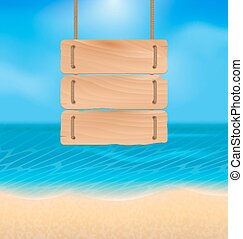 Blank wooden sign on beach, natural seascape - Illustration...
