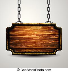 Blank wooden signboard hanging on chain isolated on white background