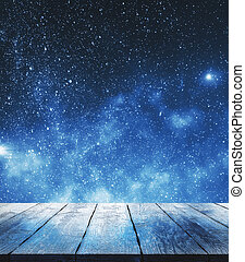 Blank wooden surface in sky