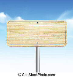 blank wooden traffic road sign