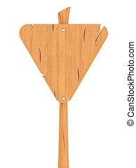 Blank wooden triangular sign