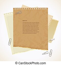 Blank worksheet exercise book. Old heavy paper with ragged...