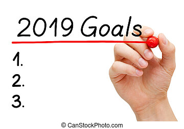 Blank goals list for year 2019 isolated on white. Hand underlining 2019 Goals with red marker on transparent wipe board.