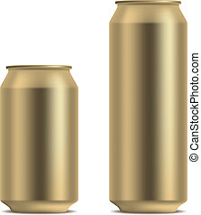 Blank yellow beer can in 2 variants 330 and 500 ml isolated...