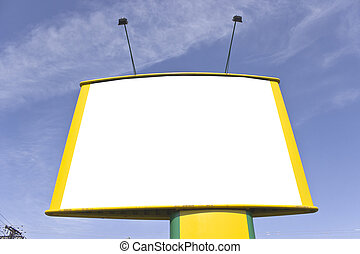 Blank yellow billboard over blue sky