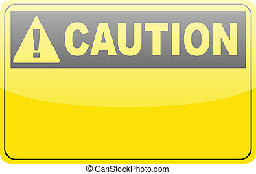 Blank yellow caution label sign on white