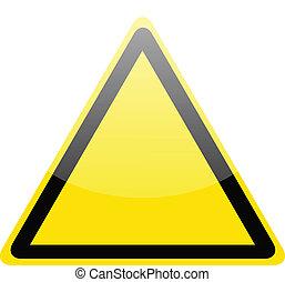 Blank yellow hazard warning sign on white