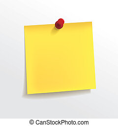 blank yellow note paper with pin