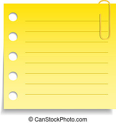 Blank yellow paper note with clip