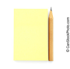 Blank yellow post it note with pencil isolated on white...