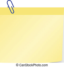 blank yellow post it with blue paper clip