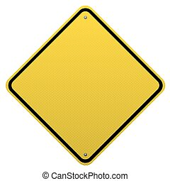 Blank yellow road sign detailed