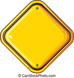 blank yellow road sign (isolated blank yellow sign, empty ...