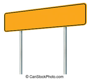 Blank Yellow Road Sign, Isolated Large Warning Copy Space, Black Frame Roadside Signpost Signboard Pole Post Empty Traffic Signage Perspective