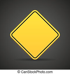 Blank yellow road sign on a black background. Vector illustration