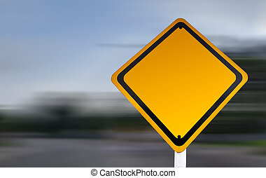 Blank yellow road sign with speed blur background