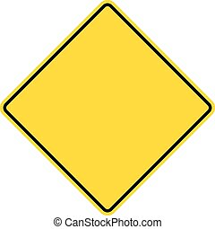 Blank yellow road sign.