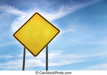 Blank, Yellow Road Warning Sign