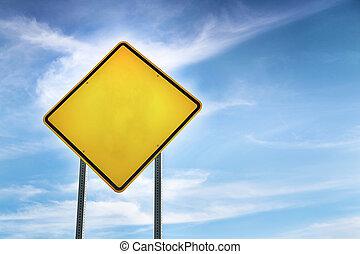 Blank, Yellow Road Warning Sign