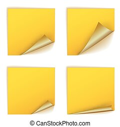 Blank yellow square stickers with curl sets