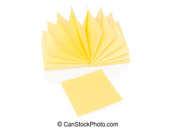 Blank yellow sticky note and block on white