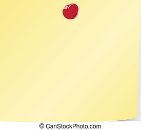 Blank yellow sticky note and red pinned
