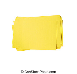 Blank yellow sticky note block isolated on white (clipping path)