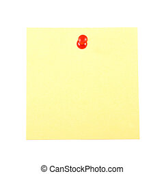 Blank yellow sticky note pinned by the red pin