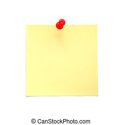 Blank yellow sticky note with red pushpin isolated on white...