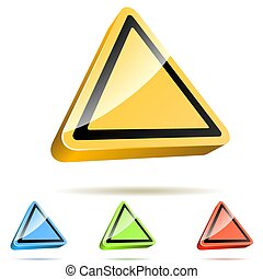 Blank Yellow Triangular Warning 3D Sign