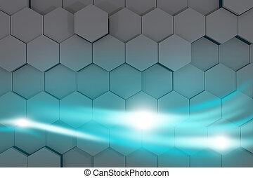blanka blåa, strömmar, av, energi, glowing., 3, rendering.