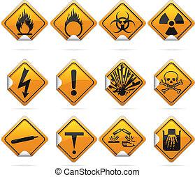 blanke, firkant, hazard, stickers