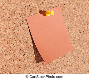 Blanked note paper on a bulletin board