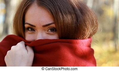 blanket., gros plan, femme, ensoleillé, automne, temps, portrait, froid, jour, robes