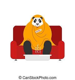 blanket., maladie, chinois, séance, fauteuil, sneezing., grippe, illustration, panda, bête, sofa., vecteur, ours, malheureux, malade, emballé, avoir