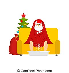 blanket., maladie, malade, séance, fauteuil, claus, grippe, malheureux, illustration, grand-père, vecteur, sofa., sneezing., santa, emballé, avoir