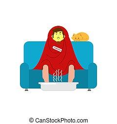 blanket., maladie, séance, fauteuil, malheureux, grippe, illustration, vecteur, sofa., sneezing., malade, emballé, type, avoir, homme