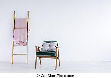 Blanket on ladder
