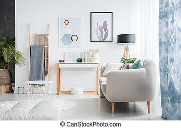 Blankets on wooden ladder