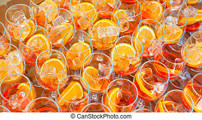 Blanks for a refreshing summer cocktail with vermouth and orange. View from above