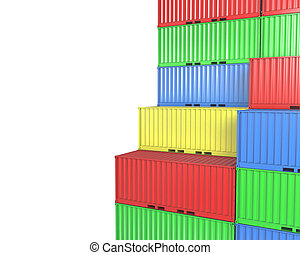 blanks, groep, containers, vracht, ruimte