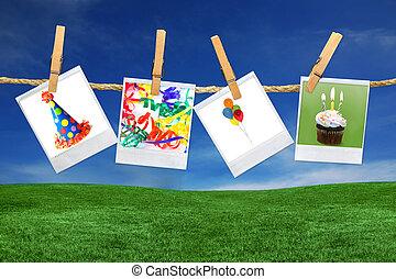 blanks, images, polaroid, apparenté, fêtede l'anniversaire, pellicule