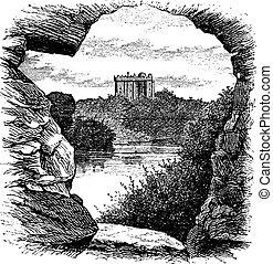 Blarney Castle, Blarney, Cork, Ireland, vintage engraving in...