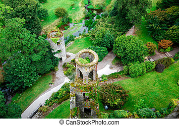 Overhead aerial view of Blarney Castle near Cork, Ireland.