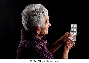 blase, ältere frau, medikationen