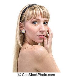blasen, freigestellt, langes haar, hintergrund, porträt, m�dchen, weißes