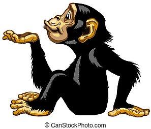 blasen, schimpanse, karikatur, kuß